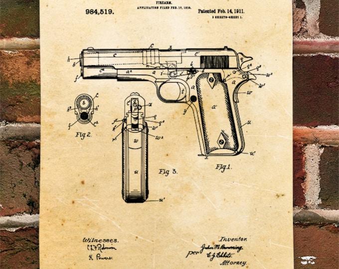 KillerBeeMoto: Duplicate of Original U.S. Patent Drawing For 1911 .45 Semi-Automatic Pistol