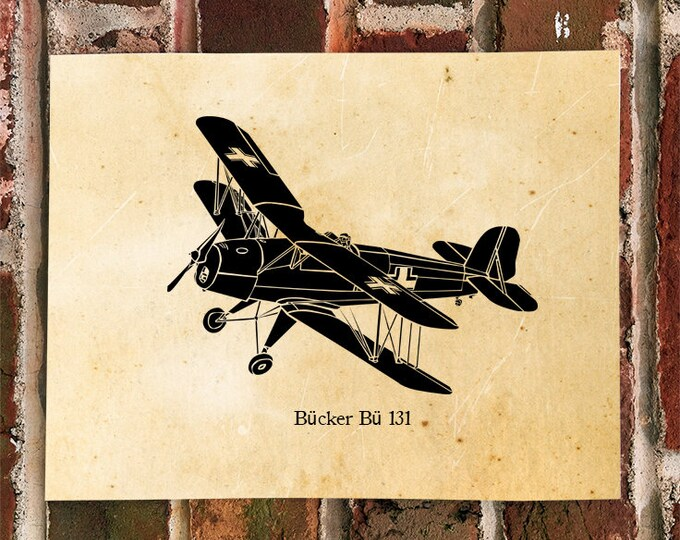 "KillerBeeMoto: Bücker Bü 131 ""Jungmann"" Fighter Bi-Plane Trainer Print"