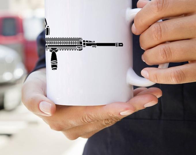 KillerBeeMoto:    Coffee Mug With 416 Assault Rifle Print