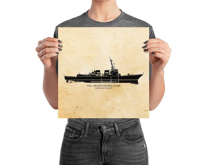 KillerBeeMoto: Arleigh Burke Class Destroyer Print With Custom Vessel Name Option