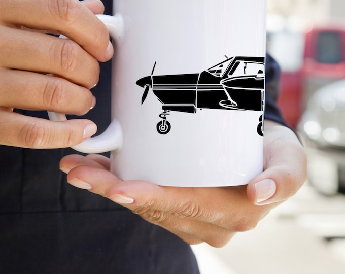 KillerBeeMoto: Coffee Mug Limited Release PA-28 Recreational Aircraft Drawing On Coffee Mug
