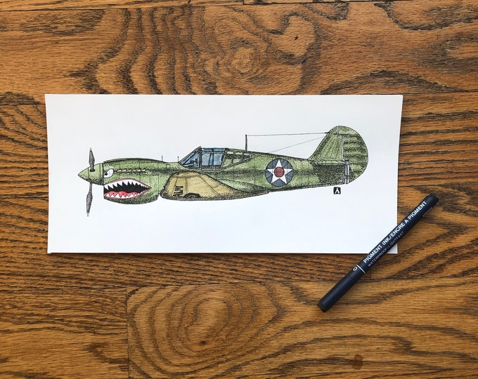 KillerBeeMoto: Limited Print Curtiss P-40 Warhawk Fighter Aircraft Print 1 of 100