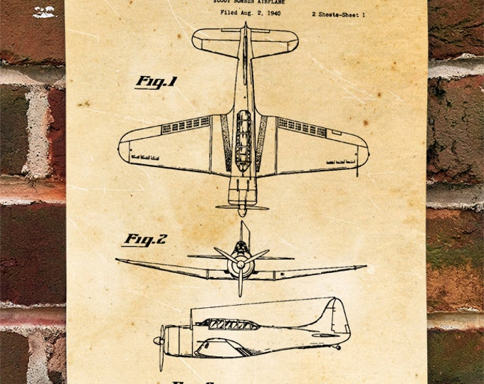 KillerBeeMoto: Duplicate of Original U.S. Patent Drawing For Vintage SBD Dauntless Bomber