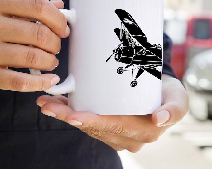"KillerBeeMoto:   Bü 131 ""Jungmann"" Trainer Fighter Plane Coffee Mug (White)"