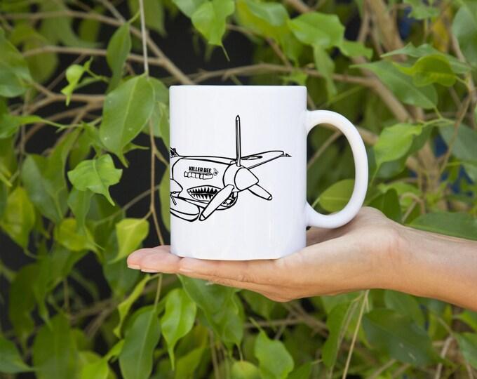 KillerBeeMoto:   Flying Tigers P-40 Warhawk Cartoon Style Coffee Mug (White)