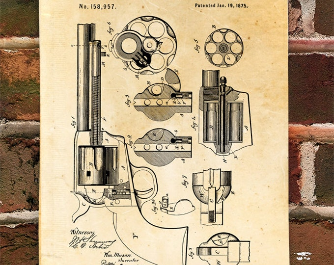 KillerBeeMoto: Duplicate of Original U.S. Patent Drawing For 1875 Peacemaker Cowboy Era Pistol