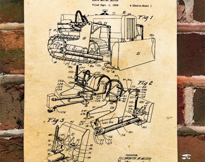 KillerBeeMoto: Duplicate of Original U.S. Patent Drawing For Vintage Bull Dozer