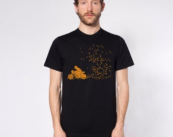 KillerBeeMoto: Motorcycle Rider Blowing Through Autumn Leaves Motorcycle Short & Long Sleeve T-Shirt