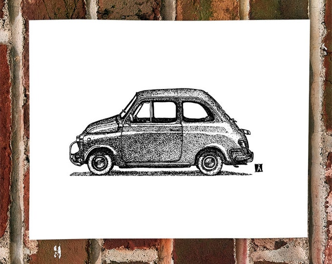 Original Pen And Ink Drawing of Vintage Fiat Prints Also Available