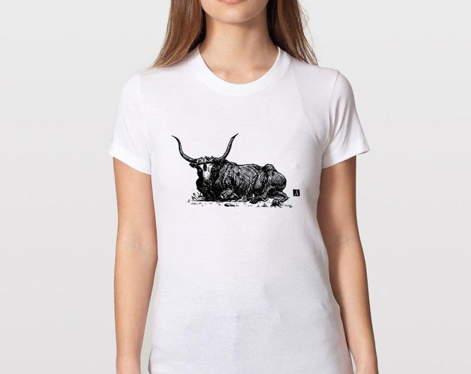 KillerBeeMoto: Hand Drawn Pen Sketch of Laying Bull on Short or Long Sleeve T-Shirt
