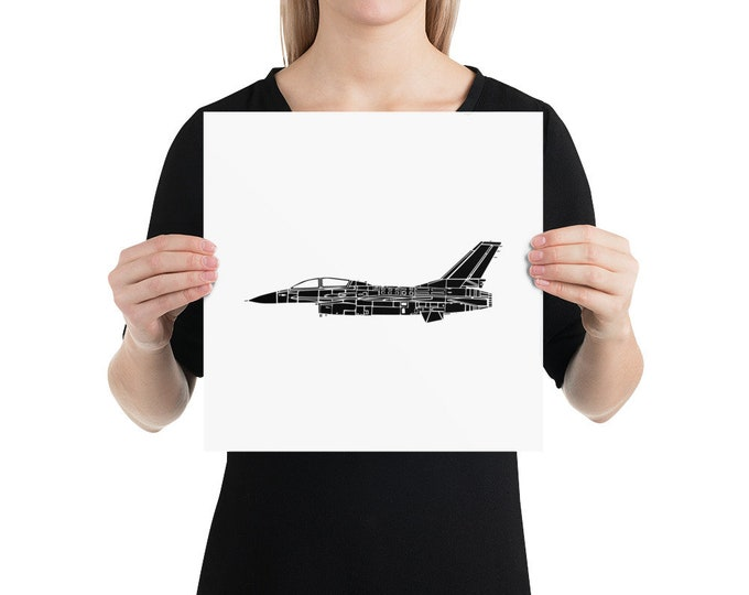 KillerBeeMoto:  Limited Print F16 Fighting Falcon Aircraft Poster Side View