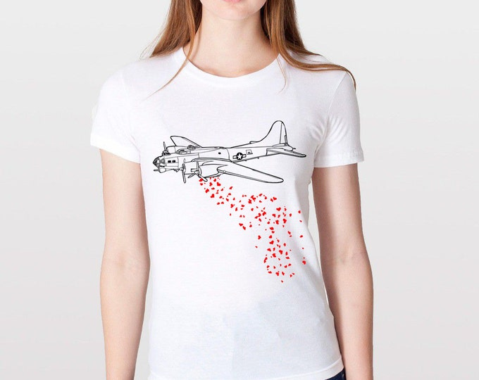 KillerBeeMoto: B17 Bomber Dropping High Explosive Hearts Cartoon Graphic Love Bomber