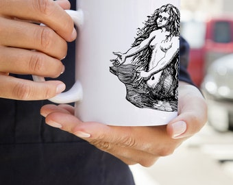 KillerBeeMoto:   Coffee Mug With Vintage Mermaid Sketch