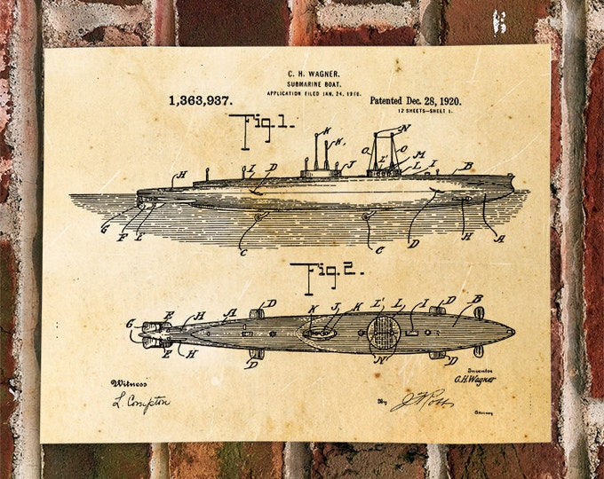 KillerBeeMoto: Duplicate of Original U.S. Patent For U-Boat Submarine 1920's