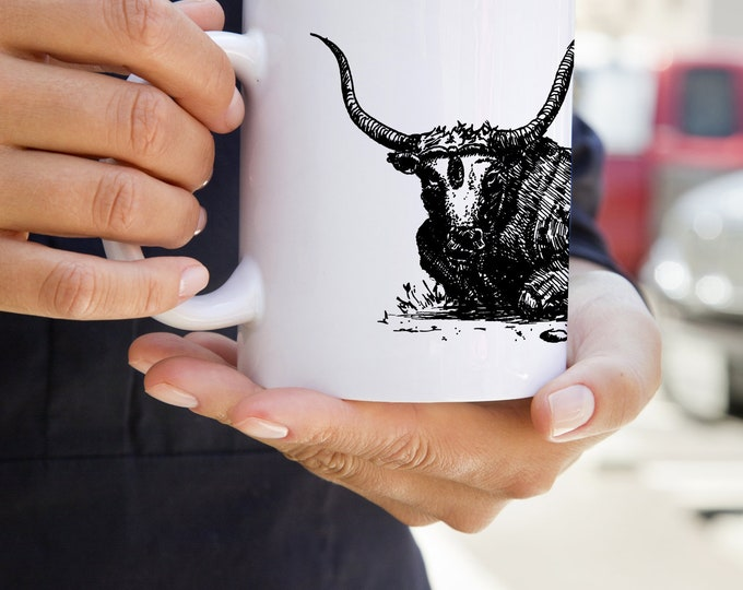 KillerBeeMoto:   Coffee Mug With Laying Bull Pen Drawn Sketch Design