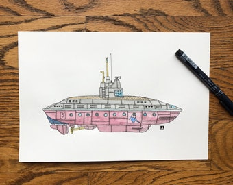 KillerBeeMoto: Pen & Ink Drawing of Fictional Submarine With Water Color (Prints Also Available)