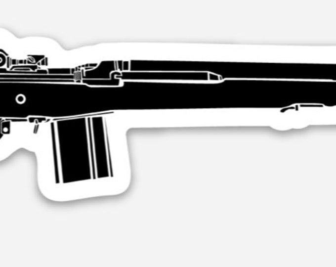 KillerBeeMoto: Vinyl Sticker of an M14 Battle Rifle Hand Drawn Illustration