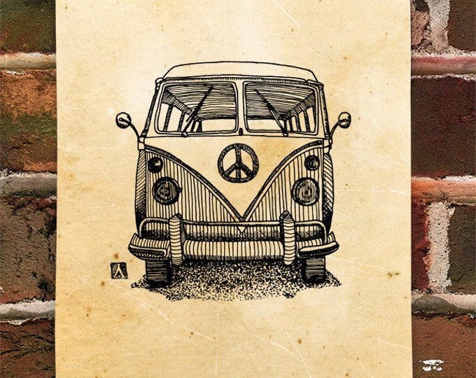 KillerBeeMoto: Limited Print of Vintage Hippie Bus