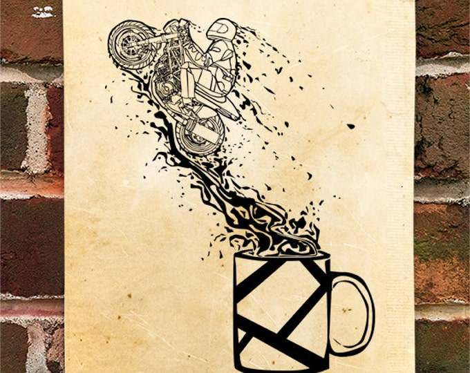 KillerBeeMoto: Motorcyclists Jumping Out Of Coffee Cup Motorcycle Print 1 of 50