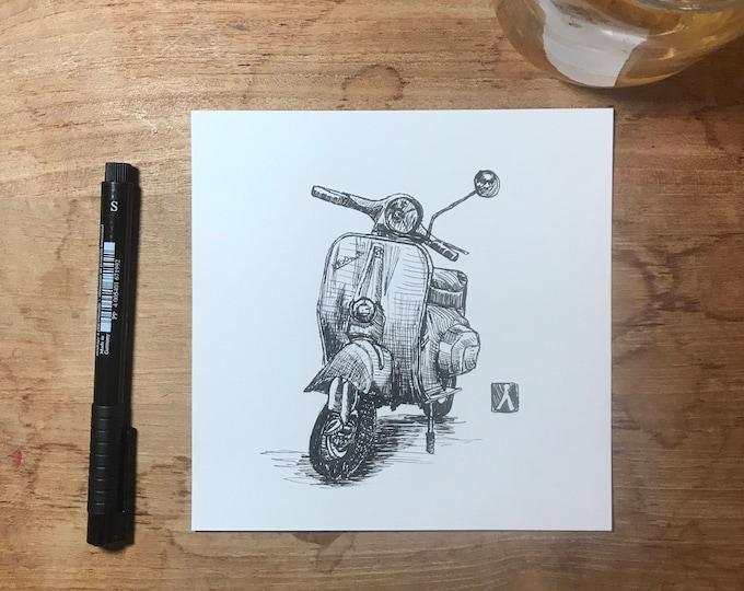 Original Pen Sketch Drawing of a Vespa Scooter