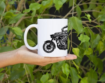 KillerBeeMoto:   Octopus Coffee Mug With Octopus On A Cafe Racer Motorcycle On Coffee Mug (White)