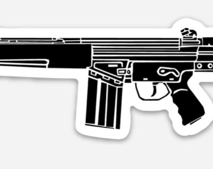 KillerBeeMoto: Vinyl Sticker of G3 Battle Rifle Hand Drawn Illustration