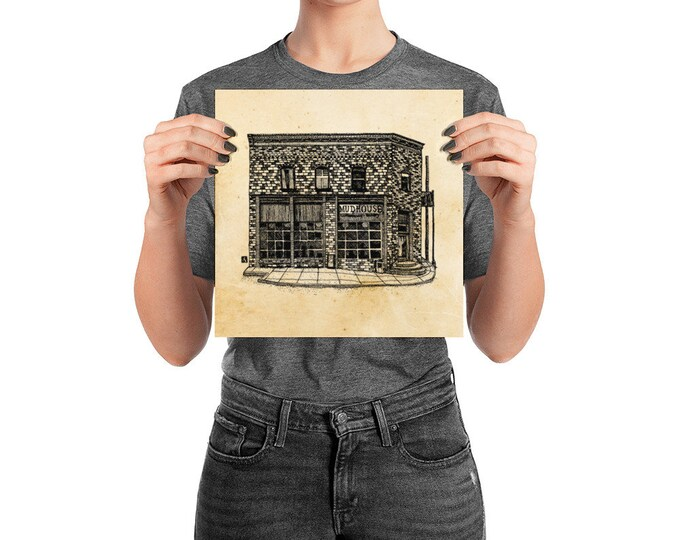 KillerBeeMoto: Charlottesville Area Bucket List Mudhouse Coffeeshop Cafe Ink Sketch Drawing On Various Mediums