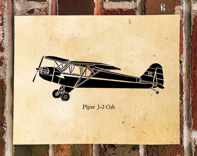 KillerBeeMoto: Limited Print Piper J-3 Cub Aircraft Print 1 of 100