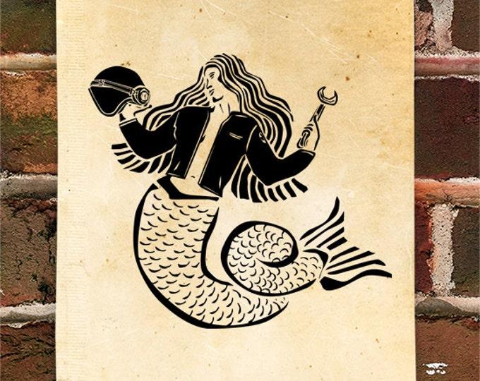 KillerBeeMoto: Mermaid Motorcycle Mechanic Motorcycle Print 1 of 50