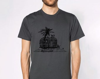 KillerBeeMoto: Vintage Hand Drawn Trailer On Deserted Island Short or Long Sleeve T-Shirt