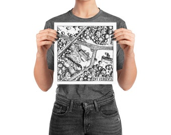 KillerBeeMoto: Original Pen and Ink Drawing of Ivy Intersection near Charlottesville (Prints Also Available)