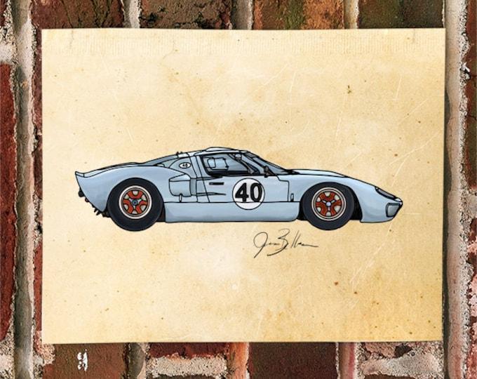 KillerBeeMoto: Limited Print Vintage American Engineered Le Mans Race Car GT40 1 of 50