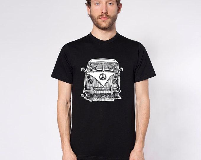 KillerBeeMoto: Limited Release Pen Sketch Vintage Hippy Transport Peace Bus Short or Long  Sleeve T-Shirt