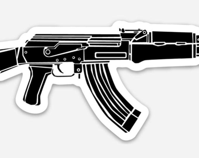 KillerBeeMoto: Vinyl Sticker of AK-47 Battle Rifle Hand Drawn Illustration