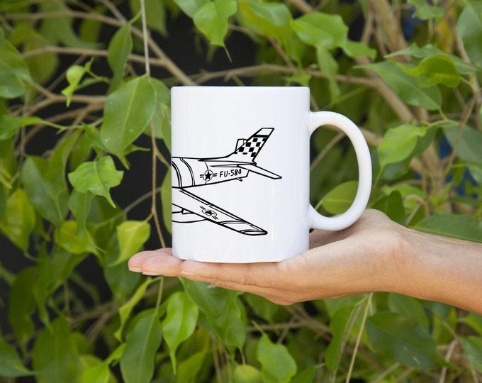 KillerBeeMoto: North American F-86 Sabre Jet Aircraft Cartoon Style Coffee Mug (White)