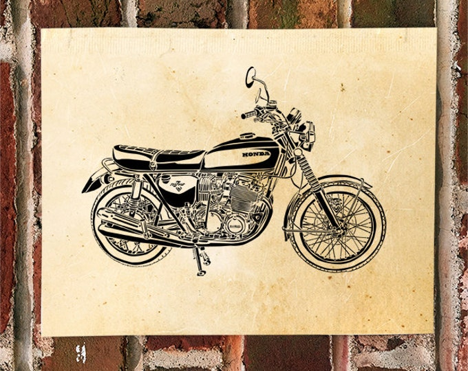 KillerBeeMoto: Limited Print Vintage Japanese Engineered Motorcycle Drawing 1 of 50