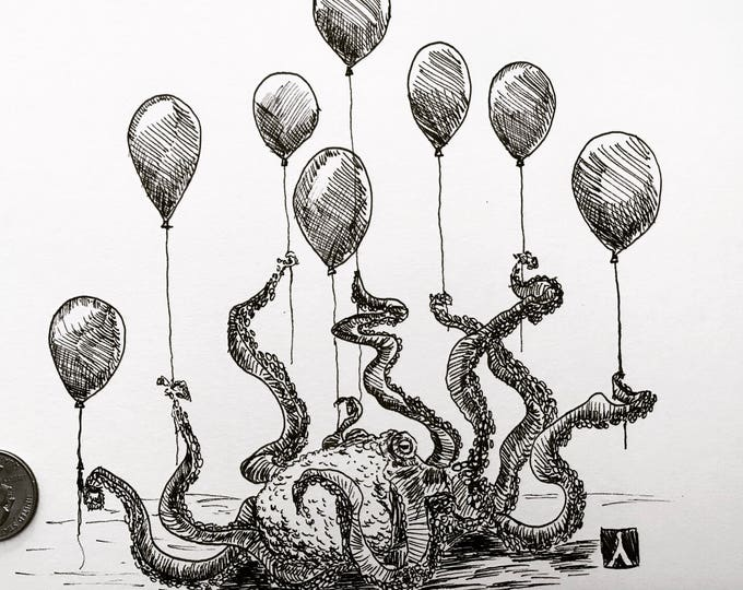 KillerBeeMoto: Print of Original Pen Drawing of an Octopus With Balloons