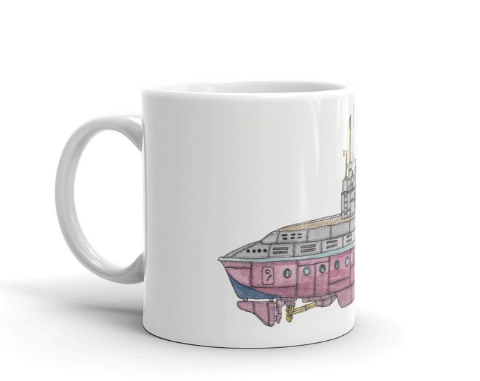 KillerBeeMoto:   Coffee Mug Hand Drawn Graphic of Fictional Submarine With Water Color