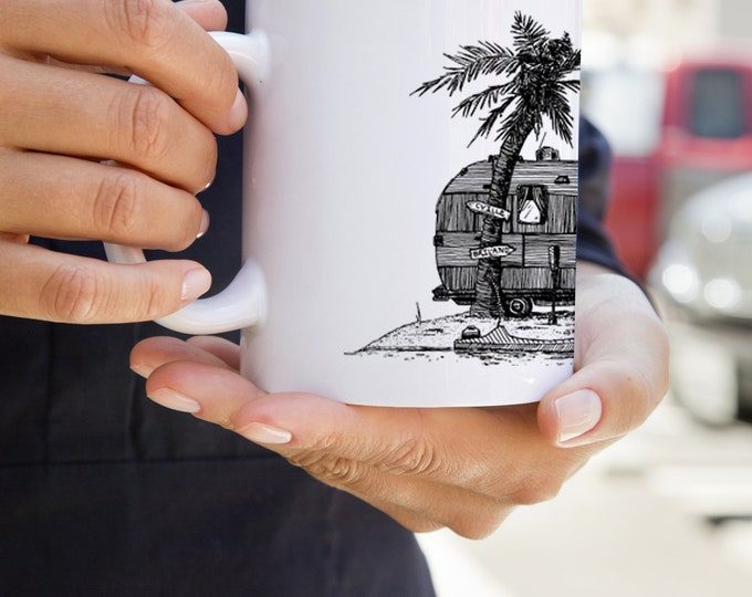 KillerBeeMoto:   Coffee Mug With Vintage Trailer On Deserted Island