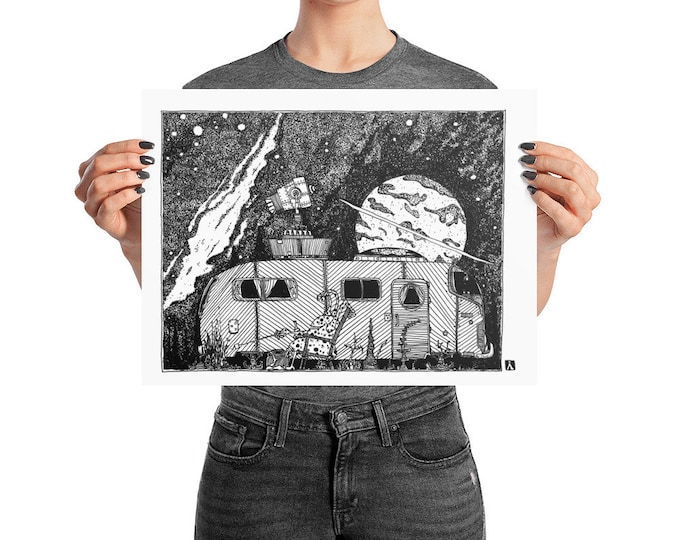 KillerBeeMoto: Original Pen And Ink Sketch of Alien Going Camping With His Trailer (Prints Also Available)