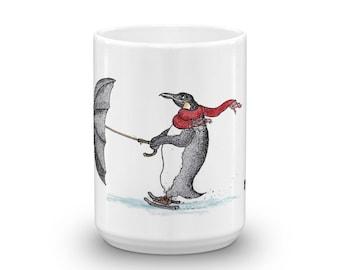 KillerBeeMoto: Penguin Ice Skating Using an Umbrella on a White Coffee Mug