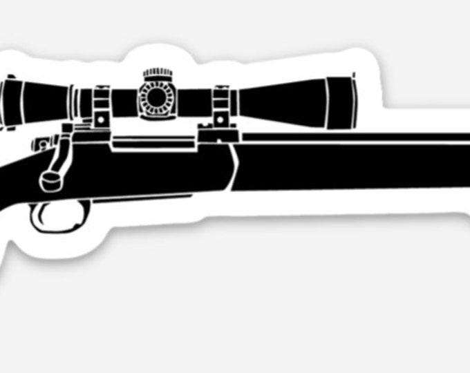 KillerBeeMoto: Vinyl Sticker of a M24 Sniper Rifle Hand Drawn Illustration