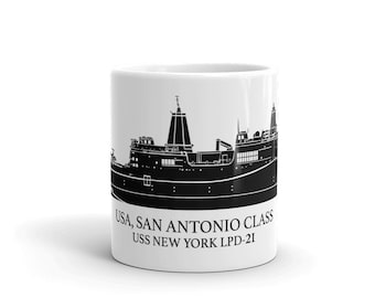 KillerBeeMoto: San Antonio-Class Amphibious Transport Dock US Navy Vessel Coffee Mug With Custom Vessel Name Option