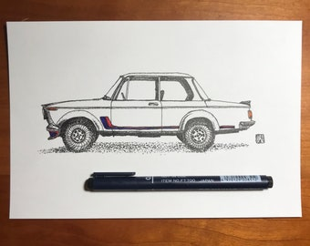 Original Pen And Ink Drawing of Vintage BMW 2002 Print