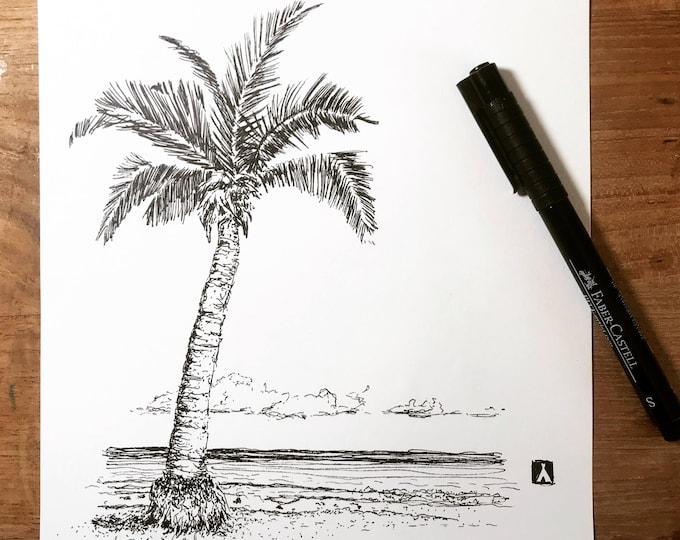 KillerBeeMoto: Pen Sketch of Palm Tree On an Island