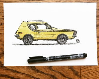 KillerBeeMoto: Print of Pen And Ink Drawing of Vintage AMC Gremlin With Canary Yellow Water Color