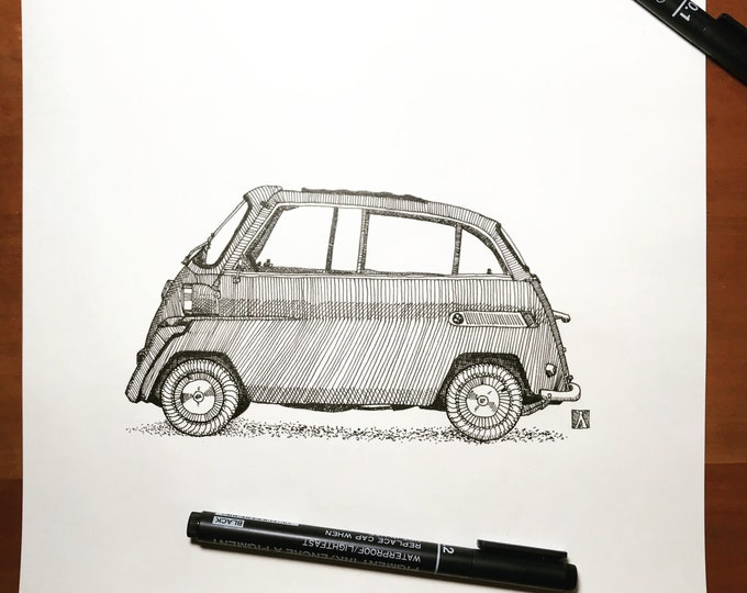 KillerBeeMoto: Hand Drawn Sketch of an Isetta Micro-Car (Limited Prints Also Available)