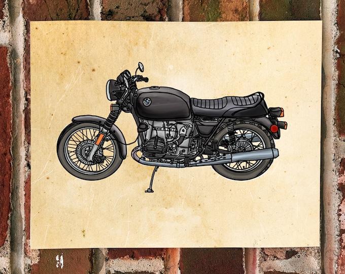 KillerBeeMoto: Limited Print Hand Drawn 1970's Vintage German Motorcycle Drawing 1 of 50