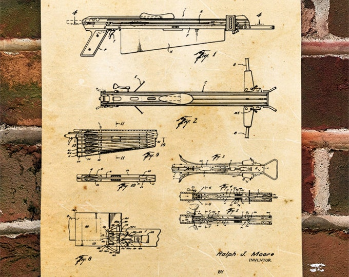 KillerBeeMoto: Duplicate of Original U.S. Patent Drawing For Vintage Automatic Reloading Crossbow