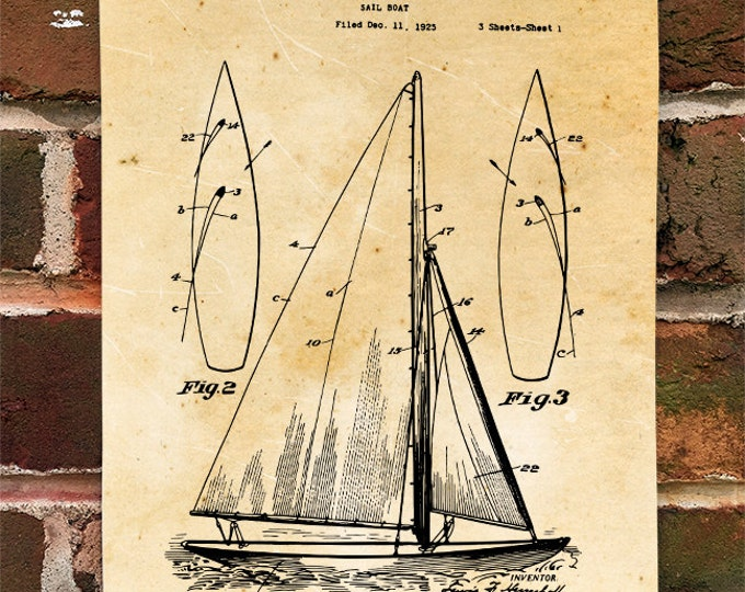 KillerBeeMoto: Duplicate of Original U.S. Patent Drawing For Vintage 1920's Sailboat